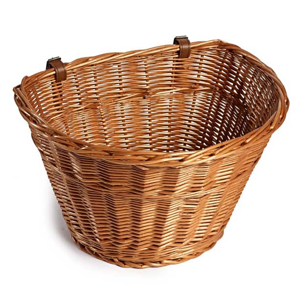 Large D-Shaped Wicker Basket